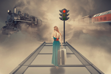 Young beautiful woman in green dress waiting old train on the platform of railway station. Dreamy foggy screen saver. Retro style vintage Instagram picture. Vacation voyage getaway adventure concept
