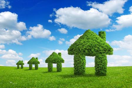 Milieu ecologie natuur thuis integratie concept. Groene huizen lopen op een zomer weide onder de blauwe hemel