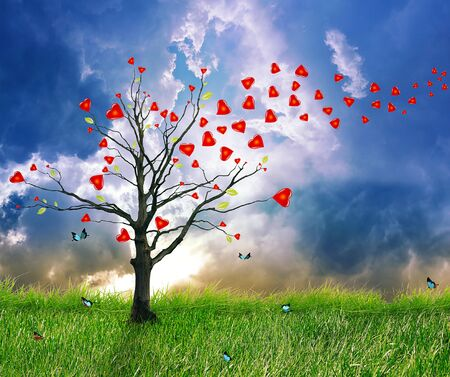 screensaver: Love tree with heart leaves. Dream screensaver