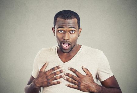stupor: portrait of surprised man Stock Photo