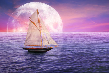 Vintage retro classic old sailboat on moonlight view skyline sky light background. Travel, vacation, voyage, trip, adventure, tourism concept. Elements of this image furnished by NASA