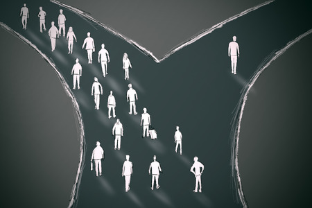 On the crossroads people choosing their pathway with one person going in different direction. Taking a chance outlier probability statistics concept