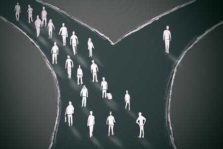 flecha direccion: En el cruce de la gente de elegir su camino con una persona que va en dirección diferente. Tomando una estadística de probabilidad concepto atípico oportunidad Foto de archivo
