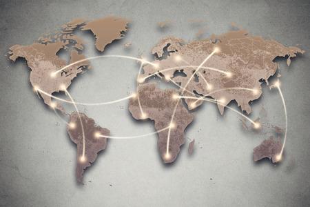 Imagen de fondo con mapa y la conexión de las líneas de mundo. Los medios sociales, red, concepto de la tecnología de conectividad