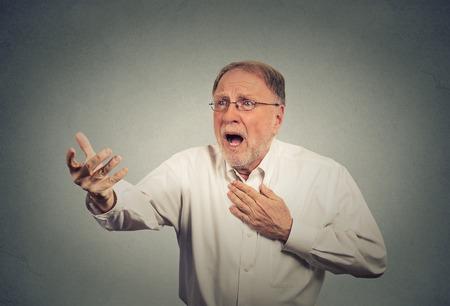 despaired: Desperate elderly man Stock Photo