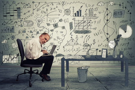 Senior businessman executive working on laptop in office. Corporate investment consultant analyzing company annual financial report balance sheet statement documents graphs. Economy concept photo