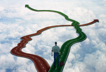 career life: Career life choice concept. Social management business management. Person standing on two roads shaped as human face heads as symbol of public relations interaction decision making communication Stock Photo