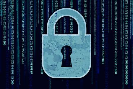 datos personales: Seguridad de los datos y el servidor de seguridad de red del ordenador con el símbolo de protección de la cerradura con un ojo de la cerradura en un fondo del código binario como icono de la tecnología de encriptación y la privacidad en Internet en el ciberespacio Foto de archivo
