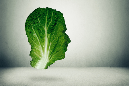 healthy lifestyle: Human healthy diet concept. Dark green leafy kale or collard leaf shaped as head symbol of fresh vegetable eating intelligent dieting using farm fresh natural organic produce. Healthy lifestyle diet