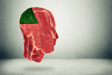 health decisions: Food balance and health related eating choices. Red steak meat shaped as human head with a piece of green vegetable kale as a pie chart. Nutritional decisions and diet concept