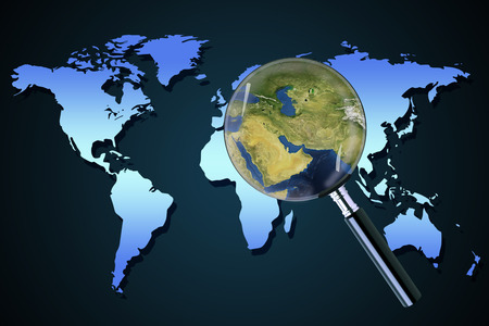 foreign country: Planet earth middle eastern crisis with political issues of the persian gulf and crude oil with countries as Iran Israel Libya Kuwait Syria focused with magnifying glass.