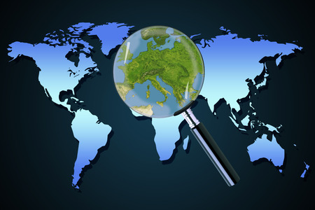 Planet earth central eastern Europe crisis with political issues Greece Italy focused with a magnifying glass
