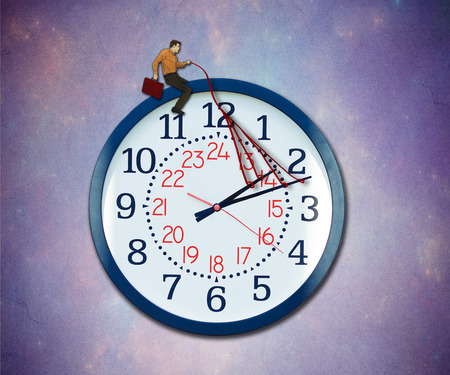 punctual: Control your time concept. Businessman taking charge of business schedule providing guidance to a flying clock metaphor in the sky.