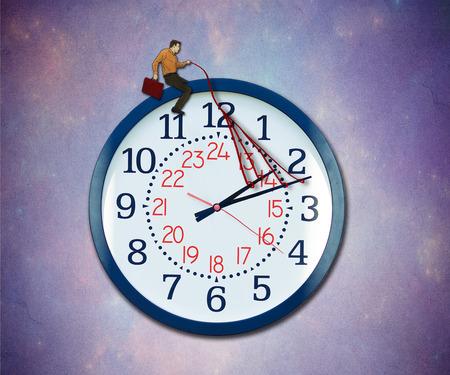 puntual: Controle su concepto del tiempo. Empresario hacerse cargo de lo previsto negocio orientar a una metáfora del reloj volando en el cielo.