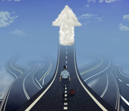 tangled roads: Career development business concept. Business man standing in front of many tangled roads with one highway leading up to arrow cloud as metaphor for leadership. Stock Photo