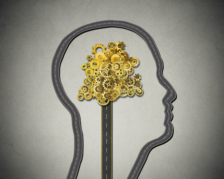mental activity: Human intelligence. Road shaped as human face with cogs and gears mechanism Business strategy and psychological mental neurological activity concept Stock Photo