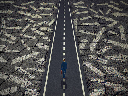 road and path through: Solution path business concept. Businessman on a clear road cutting through confusing road arrows. Success direction metaphor for achievement focus determination