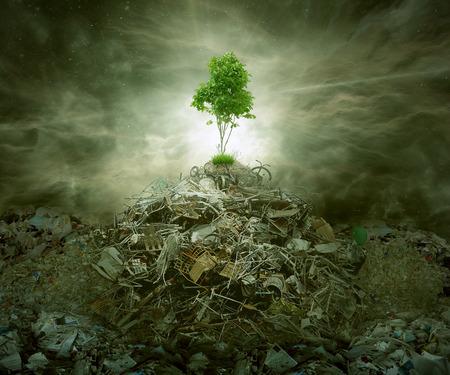 Grün-Konzept als Blattbaum oben auf Berg Müllhaufen mit Wurzeln als Bereich oder Erhaltung Symbol für die Abfallwirtschaft oder neue gesunde Anfang. Standard-Bild