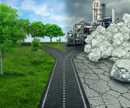 contrasted: Climate choice global ecology concept cross road between an unhealthy scene with polluted dirty air contrasted with green healthy horizon of plants and clean air.