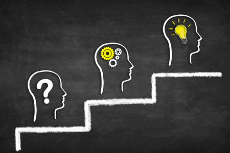 Problem solving career success concept. Asking question, thinking, finding solution