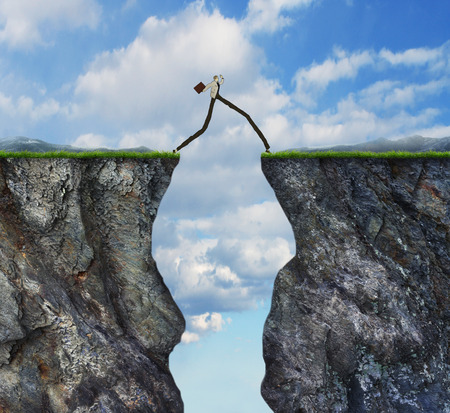 surmount: Overcoming obstacle concept as businessman with very long legs walking past through two high cliffs as success bridge metaphor to surmount obstruction solve problem