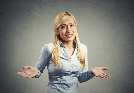 clueless: Negative human emotion, facial expression body language life perception attitude Stock Photo