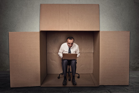 introvert: Limitations poor communication of corporate life.  Stock Photo