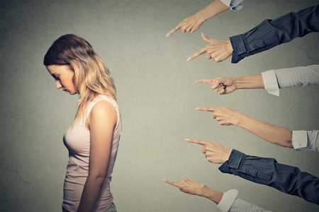 failure: Concept of accusation guilty person girl.  Stock Photo