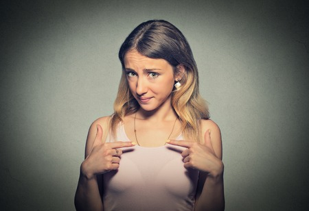 libel: Portrait of annoyed young woman getting mad asking question you talking to me Stock Photo