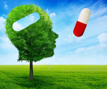 enfermedades mentales: Puzzle cabeza del cerebro de la salud mental símbolo concepto de la idea.