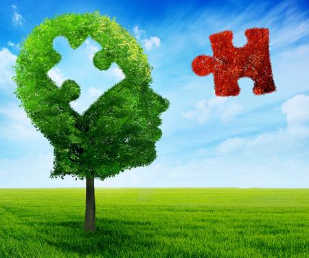 Puzzle head brain mental health symbol concept. Standard-Bild