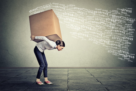 dolor de espalda: Mujer tensionada llevando sobre sus hombros hacia atrás caja grande Foto de archivo
