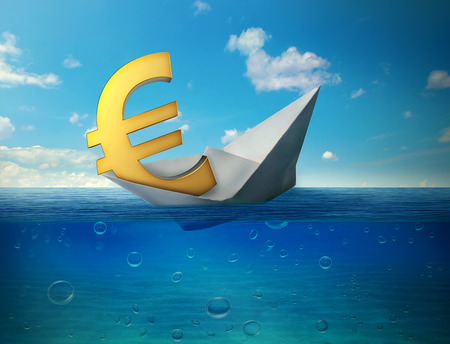paper currency: Sinking euro currency symbol with paper boat floating in ocean. Bad finance euro zone disaster collapse concept metaphor