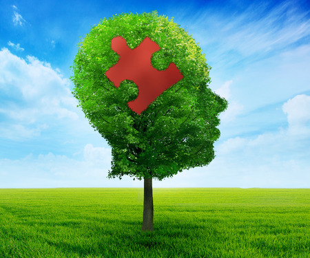 Puzzle head brain learning symbol. Tree in a shape of human head face profile with jigsaw piece isolated on blue sky background.mental health concept Stock Photo