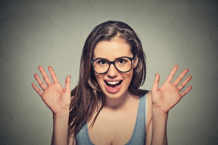 exuberance: Portrait super excited girl young woman Stock Photo