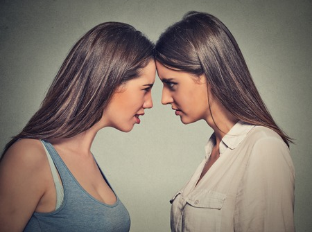 other side: Side profile unhappy young female friends looking at each other standing head to head on gray wall background. Friendship difficulties, problems at work concept