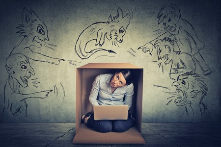 shouting girl: Bad evil men pointing at stressed woman. Desperate scared businesswoman hiding in a box working on laptop grey office wall background. Negative human emotions face expression feelings life perception Stock Photo