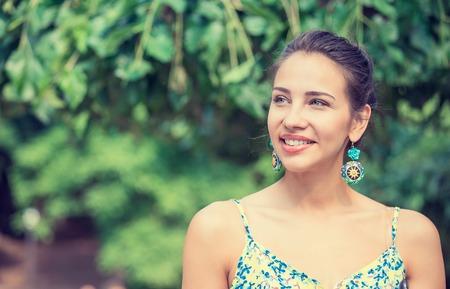 hispanic woman: Portrait of a pretty happy woman, smiling