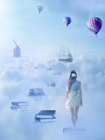 conocimiento: En búsqueda de concepto de conocimiento. Fantasía visión del mundo imaginario. Mujer caminando por la pase libro sobre las nubes con barco antiguo molino de viento en el horizonte. Éxito en la vida de una persona educada, concepto humano Foto de archivo