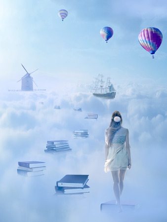knowledge: In search for knowledge concept. Fantasy world imaginary view. Woman walking down the book pass above clouds with windmill old ship in horizon. Life success of an educated person, human concept