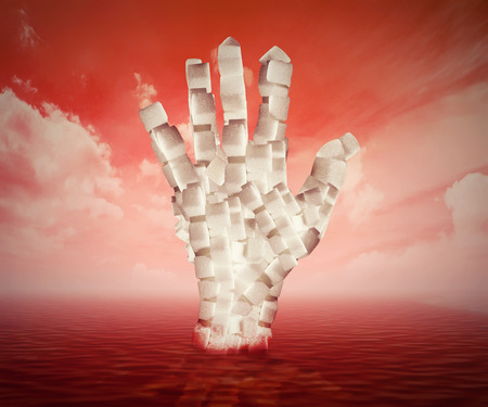 sweeten: Sugar concept sweet food ingredients. White cubes shaped as human hand floating in blood. Diet health risks related to diabetes. Stock Photo