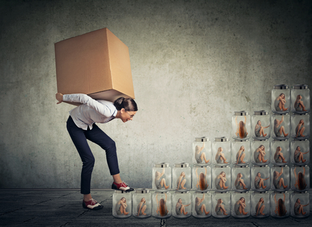betrayal: Young woman with big box on her back climbing up a stair made of jars with women inside