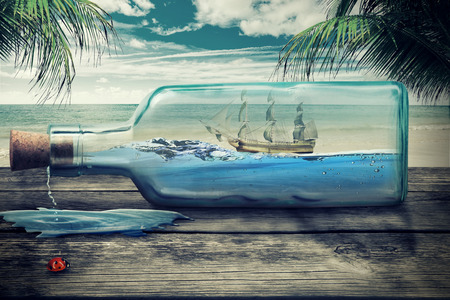 caribbean cruise: Sailing luxury yacht in the bottle on beautiful seascape. Beautiful screen saver