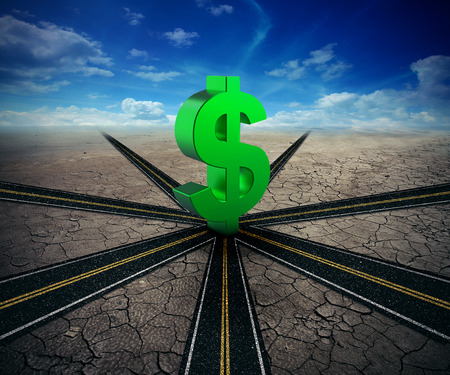 financial symbol: Business success highway concept. Multiple highways lead to a dollar sign. Making money and wealth symbol. Financial travel and profits on a sky background. Stock Photo