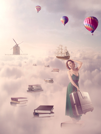 above the clouds: In search for knowledge concept. Fantasy world imaginary view. Woman walking down the book pass above clouds sky with windmill old ship in horizon. Life success of an educated person, human concept