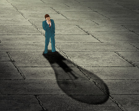 shadow man: Brainstorming businessman concept. Man with his shadow in a shape of lightbulb. Creative success innovation achievement Stock Photo