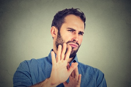 Disgusted man Stock Photo