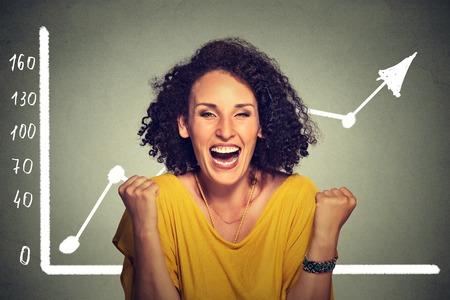 incremento: Puños de bombeo de jóvenes exitosos mujer de negocios feliz con el crecimiento de la riqueza celebra gritando aislados sobre fondo gris de la pared con el gráfico cada vez mayor. La libertad financiera éxito objetivo concepto