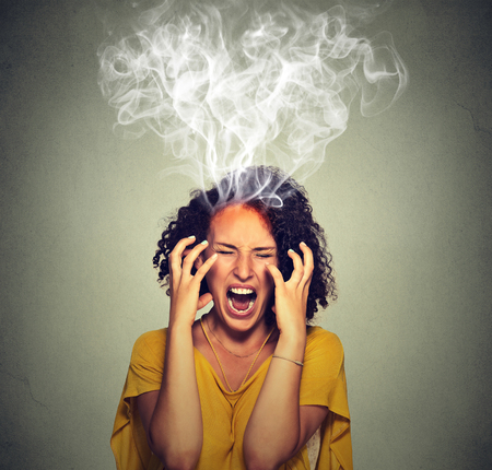 Very angry pissed off woman screaming steam smoke coming out up of head. Negative human emotions, feelings face expression