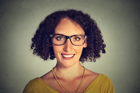 glasses eye: Happy young smiling woman in glasses Stock Photo